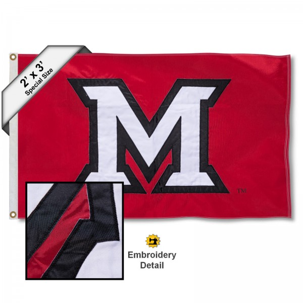 MU Redhawks Small 2'x3' Flag measures 2x3 feet, is made of 100% nylon, offers quadruple stitched flyends, has two brass grommets, and offers embroidered MU Redhawks logos, letters, and insignias. Our 2x3 foot flag is Officially Licensed by the selected university.