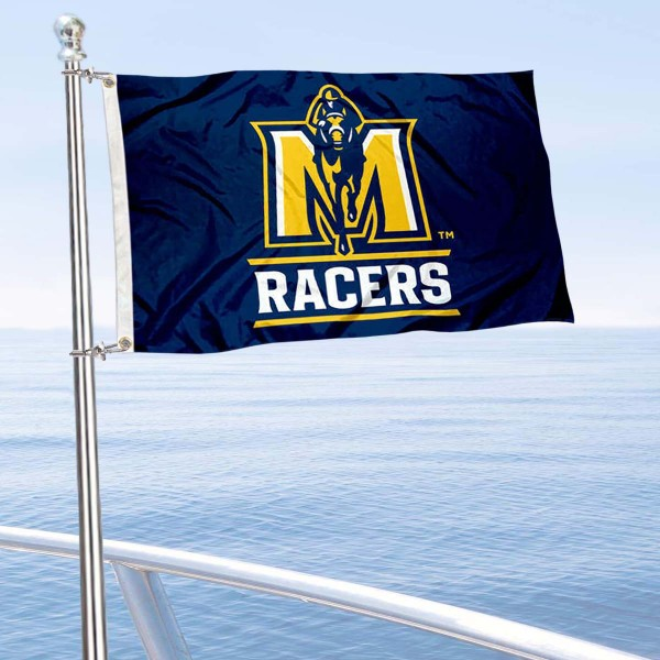 Murray State Racers Boat and Mini Flag is 12x18 inches, polyester, offers quadruple stitched flyends for durability, has two metal grommets, and is double sided. Our mini flags for Murray State University are licensed by the university and NCAA and can be used as a boat flag, motorcycle flag, golf cart flag, or ATV flag.