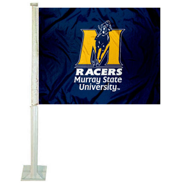 Murray State Racers Car Flag measures 12x15 inches, is constructed of sturdy 2 ply polyester, and has dye sublimated school logos which are readable and viewable correctly on both sides. Murray State Racers Car Flag is officially licensed by the NCAA and selected university