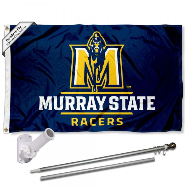 Our Murray State Racers Flag Pole and Bracket Kit includes the flag as shown and the recommended flagpole and flag bracket. The flag is made of polyester, has quad-stitched flyends, and the NCAA Licensed team logos are double sided screen printed. The flagpole and bracket are made of rust proof aluminum and includes all hardware so this kit is ready to install and fly.