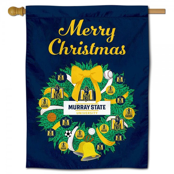 Murray State Racers Happy Holidays Banner Flag measures 30x40 inches, is made of poly, has a top hanging sleeve, and offers dye sublimated Murray State Racers logos. This Decorative Murray State Racers Happy Holidays Banner Flag is officially licensed by the NCAA.