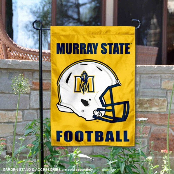 Murray State Racers Helmet Yard Garden Flag is 13x18 inches in size, is made of 2-layer polyester with Liner, screen printed university athletic logos and lettering, and is readable and viewable correctly on both sides. Available same day shipping, our Murray State Racers Helmet Yard Garden Flag is officially licensed and approved by the university and the NCAA.