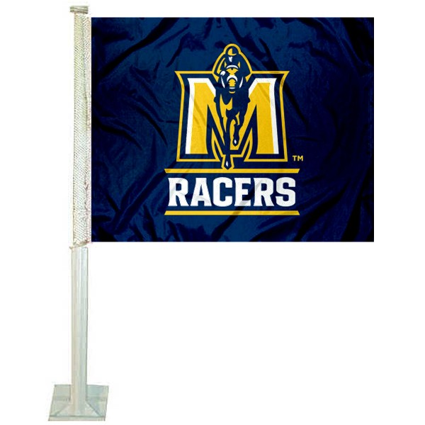 Murray State Racers Logo Car Flag measures 12x15 inches, is constructed of sturdy 2 ply polyester, and has screen printed school logos which are readable and viewable correctly on both sides. Murray State Racers Logo Car Flag is officially licensed by the NCAA and selected university.