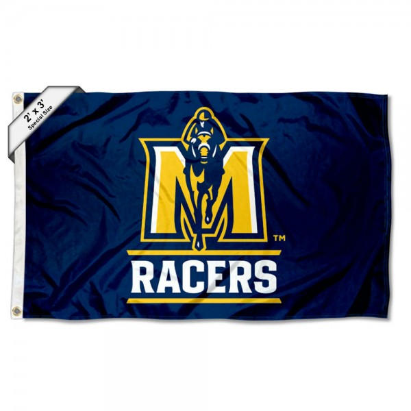 Murray State Racers Small 2'x3' Flag measures 2x3 feet, is made of 100% polyester, offers quadruple stitched flyends, has two brass grommets, and offers printed Murray State Racers logos, letters, and insignias. Our 2x3 foot flag is Officially Licensed by the selected university.