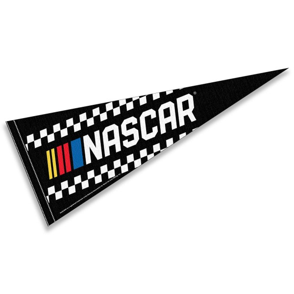 NASCAR Logo Pennant is 12x30 inches in size, is made of a felt blend, has a sewn sleeve for insertion of a pennant stick, and National Association for Stock Car Auto Racing Team screen printed Logos. These NASCAR Logo Pennants are Genuine National Association for Stock Car Auto Racing and approved by the selected teams.