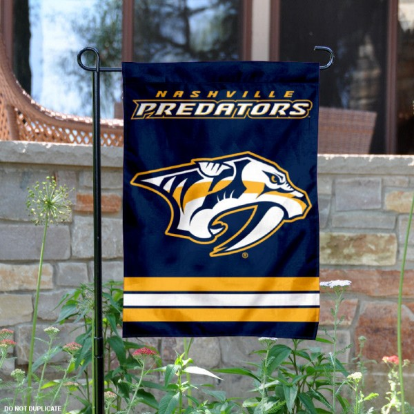 Nashville Predators Garden Flag is 12.5x18 inches in size, is made of 2-ply polyester, and has two sided screen printed logos and lettering. Available with Express Next Day Ship, our Nashville Predators Garden Flag is NHL Officially Licensed and is double sided.