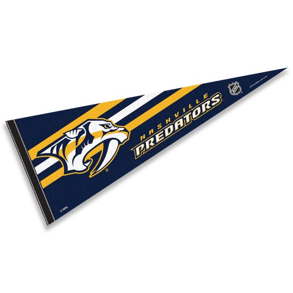 Nashville Predators NHL Pennant is our full size 12x30 inch pennant which is made of felt, is single sided screen printed, and is perfect for decorating at home or office. Display your NHL hockey allegiance with this NHL Genuine Merchandise item.