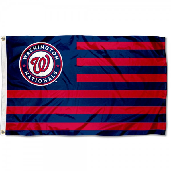 Nationals Nation Flag measures 3x5 feet, is made of polyester, offers quad-stitched flyends, has two metal grommets, and is viewable from both sides with a reverse image on the opposite side. Our Nationals Nation Flag is Genuine MLB Merchandise.