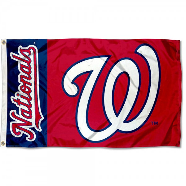 The Nationals Outdoor Flag is four-stitched bordered, double sided, made of poly, 3'x5', and has two grommets. These Washington Nationals Outdoor Flags are MLB Genuine Merchandise.