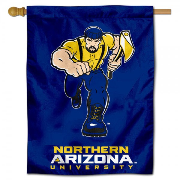"NAU Lumberjacks House Flag is constructed of polyester material, is a vertical house flag, measures 30""x40"", offers screen printed athletic insignias, and has a top pole sleeve to hang vertically. Our NAU Lumberjacks House Flag is Officially Licensed by NAU Lumberjacks and NCAA."