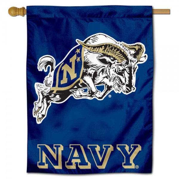 "Naval Academy Midshipmen House Flag is constructed of polyester material, is a vertical house flag, measures 30""x40"", offers screen printed athletic insignias, and has a top pole sleeve to hang vertically. Our Naval Academy Midshipmen House Flag is Officially Licensed by Naval Academy Midshipmen and NCAA."