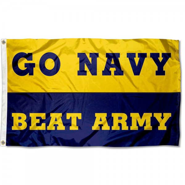 This Navy beat Army Banner Flag measures 3'x5', is made of 100% nylon, has quad-stitched sewn flyends, and has two-sided Navy beat Army Banner printed logos. Our Navy beat Army Banner Flag is officially licensed and all flags for Navy beat Army Banner are approved by the NCAA and Same Day UPS Express Shipping is available.