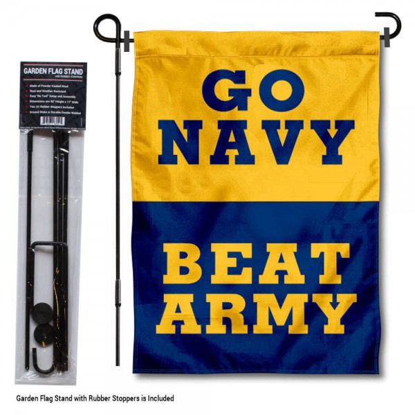 "Navy Beat Army Garden Flag and Stand kit includes our 13""x18"" garden banner which is made of 2 ply poly with liner and has screen printed licensed logos. Also, a 40""x17"" inch garden flag stand is included so your Navy Beat Army Garden Flag and Stand is ready to be displayed with no tools needed for setup. Fast Overnight Shipping is offered and the flag is Officially Licensed and Approved by the selected team."