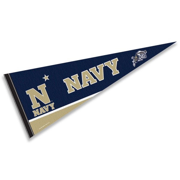 Navy Decorations consists of our full size pennant which measures 12x30 inches, is constructed of felt, is single sided imprinted, and offers a pennant sleeve for insertion of a pennant stick, if desired. This Navy Decorations is officially licensed by the selected university and the NCAA.