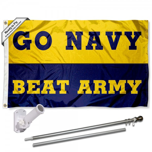 Our Navy Midshipmen Beat Army Flag Pole and Bracket Kit includes the flag as shown and the recommended flagpole and flag bracket. The flag is made of nylon, has quad-stitched flyends, and the NCAA Licensed team logos are double sided screen printed. The flagpole and bracket are made of rust proof aluminum and includes all hardware so this kit is ready to install and fly.