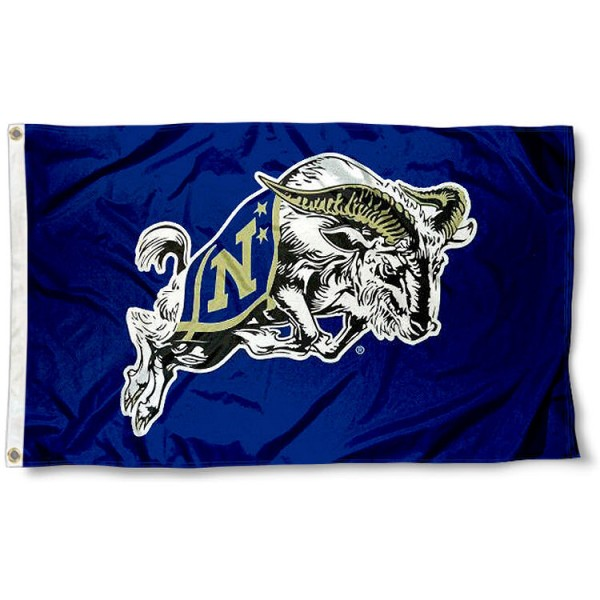 Navy Midshipmen Bill the Goat Flag measures 3'x5', is made of 100% poly, has quadruple stitched sewing, two metal grommets, and has double sided Team University logos. Our Navy Midshipmen 3x5 Flag is officially licensed by the selected university and the NCAA.