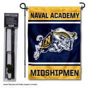 Navy Midshipmen Garden Flag and Pole Stand Holder