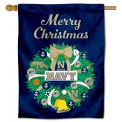 Navy Midshipmen Happy Holidays Banner Flag