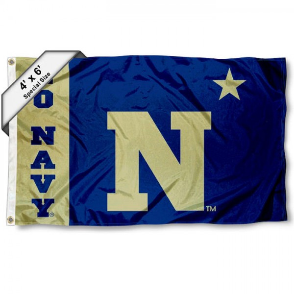 Navy Midshipmen Large 4x6 Flag measures 4x6 feet, is made thick woven polyester, has quadruple stitched flyends, two metal grommets, and offers screen printed NCAA Navy Midshipmen Large athletic logos and insignias. Our Navy Midshipmen Large 4x6 Flag is officially licensed by Navy Midshipmen and the NCAA.