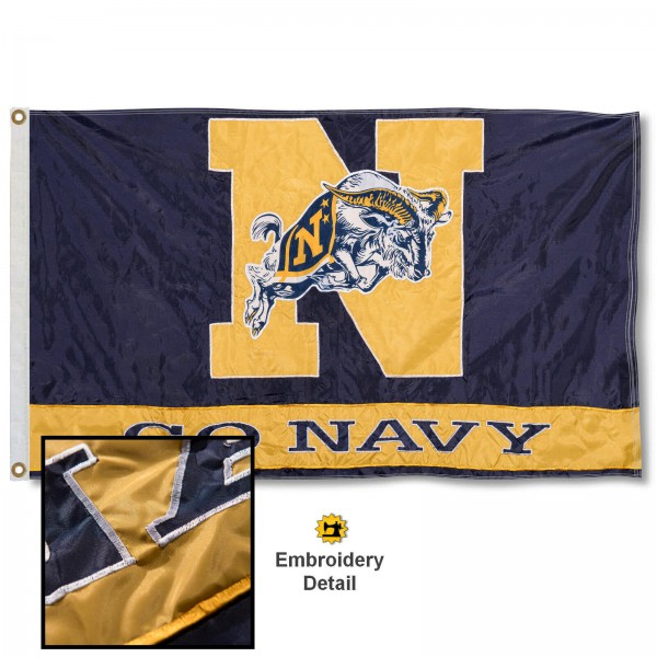 Navy Midshipmen Nylon Embroidered Flag measures 3'x5', is made of 100% nylon, has quadruple flyends, two metal grommets, and has double sided appliqued and embroidered University logos. These Navy Midshipmen 3x5 Flags are officially licensed by the selected university and the NCAA.