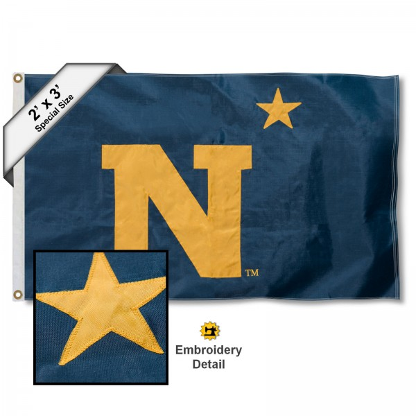 Navy Midshipmen Small 2'x3' Flag measures 2x3 feet, is made of 100% nylon, offers quadruple stitched flyends, has two brass grommets, and offers embroidered Navy Midshipmen logos, letters, and insignias. Our 2x3 foot flag is Officially Licensed by the selected university.