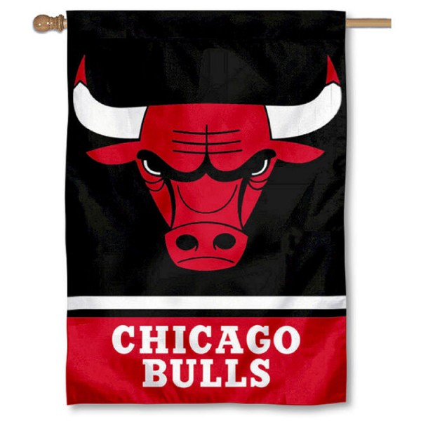 NBA Chicago Bulls Two Sided House Banner is screen printed with Chicago Bulls logos, is made of 2-ply 100% polyester, and is two sided and double sided. Our banners measure 28x40 inches and hang vertically with a top pole sleeve to insert your banner pole or flagpole.