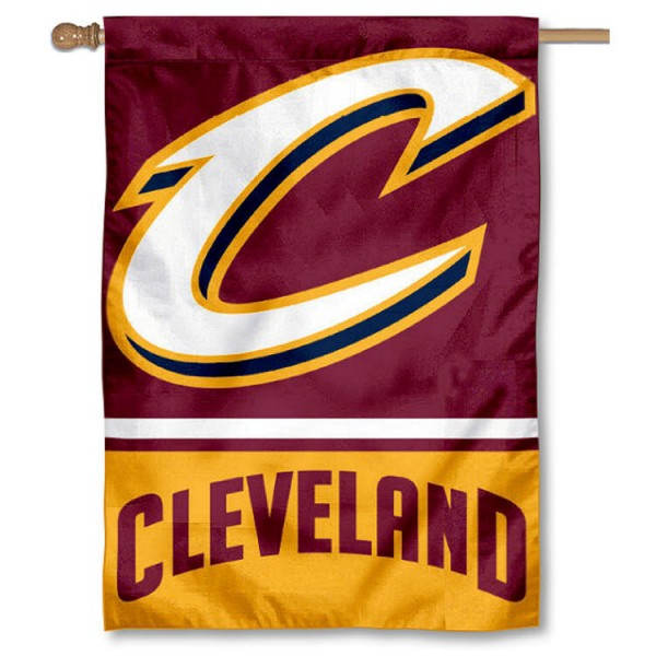 NBA Cleveland Cavaliers Two Sided House Banner is screen printed with Cleveland Cavaliers logos, is made of 2-ply 100% polyester, and is two sided and double sided. Our banners measure 28x40 inches and hang vertically with a top pole sleeve to insert your banner pole or flagpole.