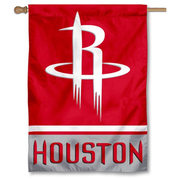 NBA Houston Rockets Two Sided House Banner is screen printed with Houston Rockets logos, is made of 2-ply 100% polyester, and is two sided and double sided. Our banners measure 28x40 inches and hang vertically with a top pole sleeve to insert your banner pole or flagpole.