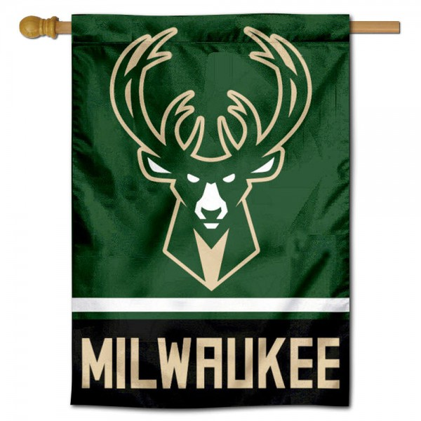NBA Milwaukee Bucks Two Sided House Banner is screen printed with Milwaukee Bucks logos, is made of 2-ply 100% polyester, and is two sided and double sided. Our banners measure 28x40 inches and hang vertically with a top pole sleeve to insert your banner pole or flagpole.