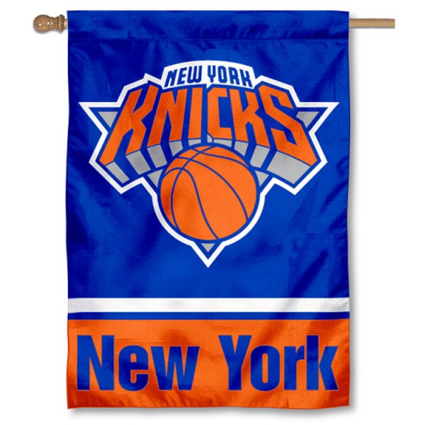 NBA New York Knicks Two Sided House Banner is screen printed with New York Knicks logos, is made of 2-ply 100% polyester, and is two sided and double sided. Our banners measure 28x40 inches and hang vertically with a top pole sleeve to insert your banner pole or flagpole.
