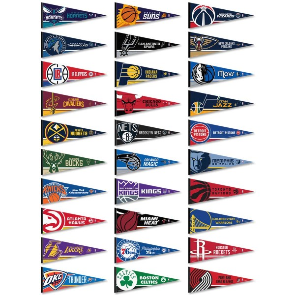 Our NBA Pennant Set includes all 30 NBA teams which each pennant measuring a full size 12x30 inches, single sided screen printed, and our NBA Pennant Set is Genuine NBA Merchandise.