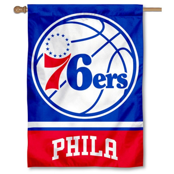 NBA Philadelphia 76ers Two Sided House Banner is screen printed with Philadelphia 76ers logos, is made of 2-ply 100% polyester, and is two sided and double sided. Our banners measure 28x40 inches and hang vertically with a top pole sleeve to insert your banner pole or flagpole.