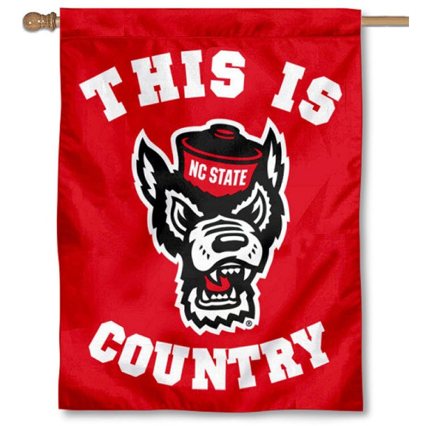 NC State This is Wolfpack Country House Flag is a vertical house flag which measures 30x40 inches, is made of 2 ply 100% polyester, offers screen printed NCAA team insignias, and has a top pole sleeve to hang vertically. Our NC State This is Wolfpack Country House Flag is officially licensed by the selected university and the NCAA.