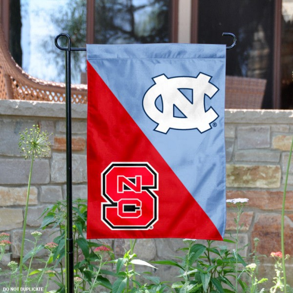 NC State vs. UNC House Divided Garden Flag is 13x18 inches in size, is made of polyester, is double-sided, and offers screen printed university school logos. The NC State vs. UNC House Divided Garden Flag is approved by the NCAA and the selected university.