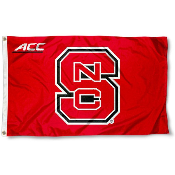 NC State Wolfpack ACC Flag measures 3'x5', is made of 100% poly, has quadruple stitched sewing, two metal grommets, and has double sided Team University logos. Our NC State Wolfpack ACC Flag is officially licensed by the selected university and the NCAA.