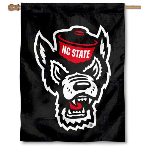 NC State Wolfpack Black Double Sided House Flag is a vertical house flag which measures 30x40 inches, is made of 2 ply 100% polyester, offers screen printed NCAA team insignias, and has a top pole sleeve to hang vertically. Our NC State Wolfpack Black Double Sided House Flag is officially licensed by the selected university and the NCAA.