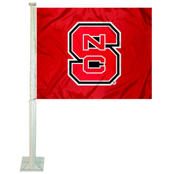 NC State Wolfpack Car Window Flag measures 12x15 inches, is constructed of sturdy 2 ply polyester, and has screen printed school logos which are readable and viewable correctly on both sides. NC State Wolfpack Car Window Flag is officially licensed by the NCAA and selected university.