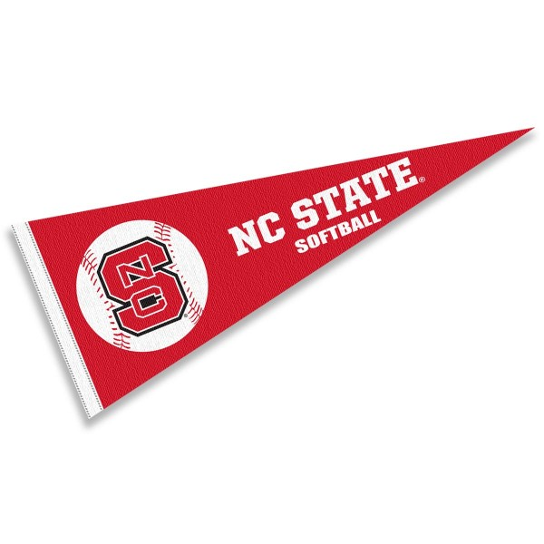 NC State Wolfpack Softball Pennant consists of our full size sports pennant which measures 12x30 inches, is constructed of felt, is single sided imprinted, and offers a pennant sleeve for insertion of a pennant stick, if desired. This NC State Wolfpack Pennant Decorations is Officially Licensed by the selected university and the NCAA.