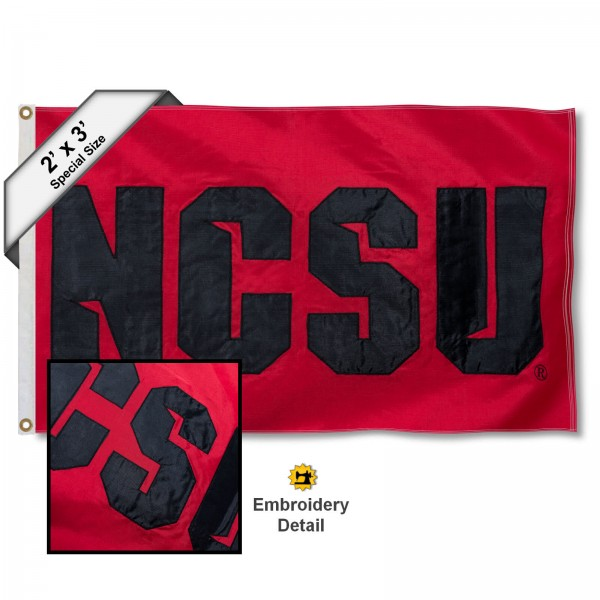 NCSU Small 2'x3' Flag measures 2x3 feet, is made of 100% nylon, offers quadruple stitched flyends, has two brass grommets, and offers embroidered NCSU logos, letters, and insignias. Our NCSU Small 2'x3' Flag is Officially Licensed by the selected university.