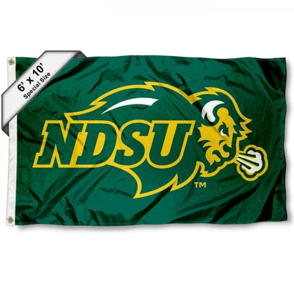 NDSU 6'x10' Flag measures 6x10 feet, is made of thick polyester, has quadruple-stitched fly ends, and NDSU logos are Screen Printed into the NDSU 6'x10' Flag. This NDSU 6'x10' Flag is officially licensed by the School and NCAA.