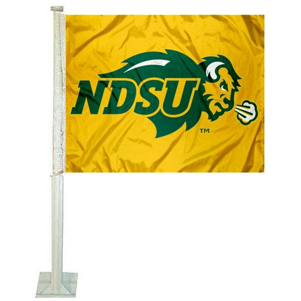 NDSU Bison Car Window Flag measures 12x15 inches, is constructed of sturdy 2 ply polyester, and has screen printed school logos which are readable and viewable correctly on both sides. NDSU Bison Car Window Flag is officially licensed by the NCAA and selected university.