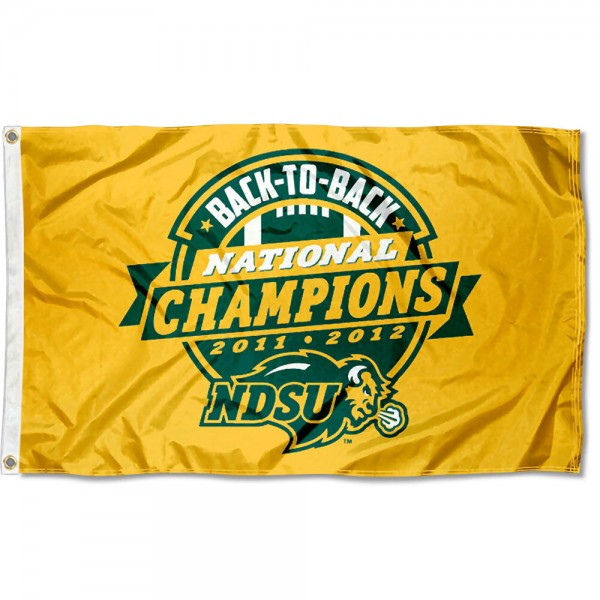 NDSU Bison FCS Champions Official Flag is 3x5 feet, made of poly, has quad stitched flyends, two metal grommets, and the 2011 FCS Championship Logos are printed into the NDSU Bison FCS Champions Official Flag. The NDSU Bison FCS Champions Official Flag is officially licensed by the NCAA and university.