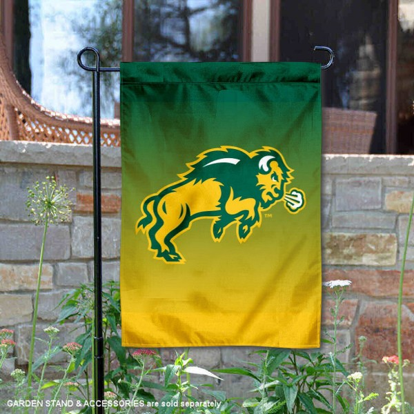 NDSU Bison Gradient Ombre Logo Garden Flag is 13x18 inches in size, is made of thick blockout polyester, screen printed university athletic logos and lettering, and is readable and viewable correctly on both sides. Available same day shipping, our NDSU Bison Gradient Ombre Logo Garden Flag is officially licensed and approved by the university and the NCAA.