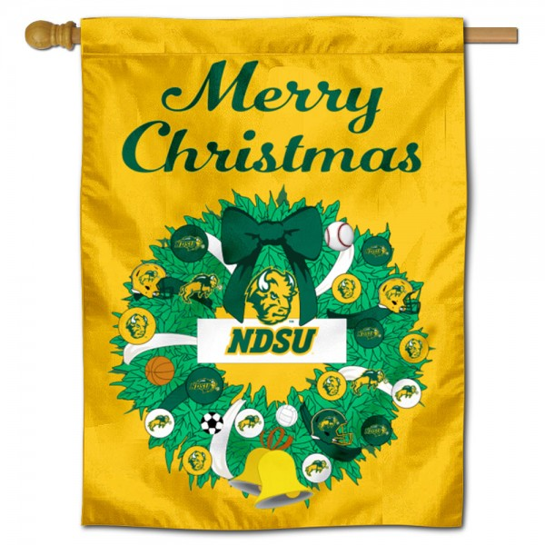 NDSU Bison Happy Holidays Banner Flag measures 30x40 inches, is made of poly, has a top hanging sleeve, and offers dye sublimated NDSU Bison logos. This Decorative NDSU Bison Happy Holidays Banner Flag is officially licensed by the NCAA.
