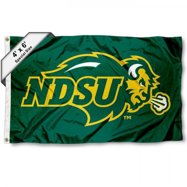 NDSU Bison Large 4x6 Flag measures 4x6 feet, is made thick woven polyester, has quadruple stitched flyends, two metal grommets, and offers screen printed NCAA NDSU Bison Large athletic logos and insignias. Our NDSU Bison Large 4x6 Flag is officially licensed by NDSU Bison and the NCAA.