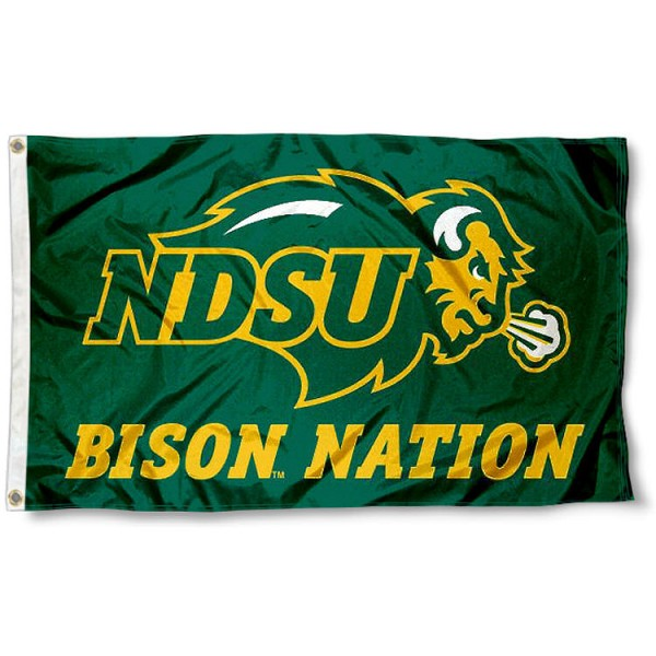 NDSU Bison Nation Flag measures 3'x5', is made of 100% poly, has quadruple stitched sewing, two metal grommets, and has double sided North Dakota State Bison logos. Our NDSU Bison Nation Flag is officially licensed by the selected university and the NCAA.