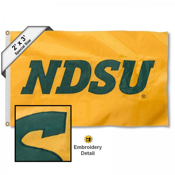 NDSU Bison Small 2'x3' Flag measures 2x3 feet, is made of 100% nylon, offers quadruple stitched flyends, has two brass grommets, and offers embroidered NDSU Bison logos, letters, and insignias. Our 2x3 foot flag is Officially Licensed by the selected university.
