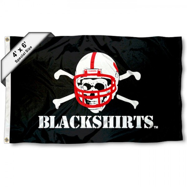 Nebraska Blackshirts Large 4x6 Flag measures 4x6 feet, is made thick woven polyester, has quadruple stitched flyends, two metal grommets, and offers screen printed NCAA Nebraska Blackshirts Large athletic logos and insignias. Our Nebraska Blackshirts Large 4x6 Flag is officially licensed by Nebraska Blackshirts and the NCAA.