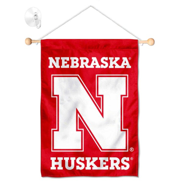 "Nebraska Cornhuskers Banner with Suction Cup kit includes our 13""x18"" garden banner which is made of 2 ply poly with liner and has screen printed licensed logos. Also, a 17"" wide banner pole with suction cup is included so your Nebraska Cornhuskers Banner with Suction Cup is ready to be displayed with no tools needed for setup. Fast Overnight Shipping is offered and the flag is Officially Licensed and Approved by the selected team."