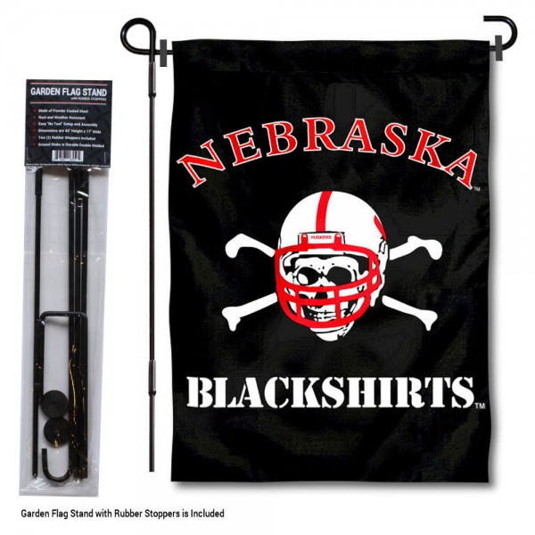 """Nebraska Cornhuskers Blackshirts Garden Flag and Pole Stand Mount kit includes our 13""""x18"""" garden banner which is made of 2 ply poly with liner and has screen printed licensed logos. Also, a 40""""x17"""" inch garden flag stand is included so your Nebraska Cornhuskers Blackshirts Garden Flag and Pole Stand Mount is ready to be displayed with no tools needed for setup. Fast Overnight Shipping is offered and the flag is Officially Licensed and Approved by the selected team."""
